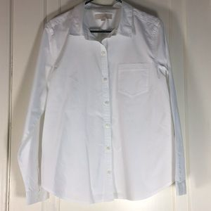 Loft White Buton Down Womens Dress Shirt L